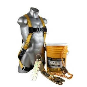 Roofing Fall Protection 25 Ft Rooftop Safe Tie Bucket Kit Safety Harness Set