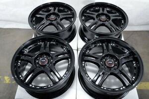16 5x100 5x114 3 Black Wheels Fits Honda Accord Civic Crz Element Rsx 5 Lug Rims