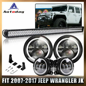 Roof 52 700w Led Light Bar 7 Led Headlight 4 fog Lamp Fit Jeep Wrangler Jk Us