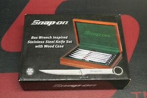Snap On Tools Wrench Inspired Stainless Kitchen Knife Set With Wood Case Unused