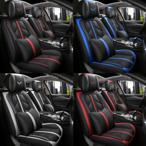 Deluxe Universal 5 seats Car Seat Cover Front Pu Leather Rear Cushion Full Set