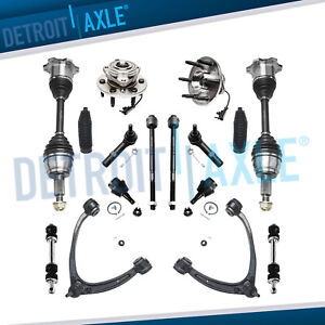 4wd 16pc Front Cv Axle Upper Control Arm Ball Joint Kit Escalade Silverado Tahoe