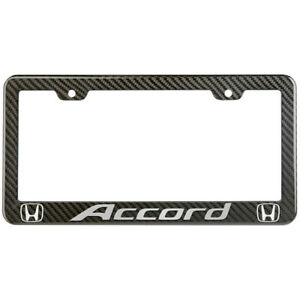 Honda Accord License Plate Frame Carbon Fiber Look Style Glossy Plastic