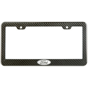 Ford Logo License Plate Frame Carbon Fiber Look Style Glossy Plastic
