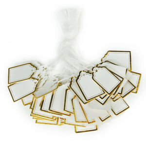500x Rectangular Price Label Tags With Hanging String Jewelry Watch Sale Display