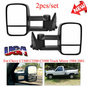 For 88 01 Chevy Gmc 1500 2500 3500 Towing Mirrors Manual Side Mirror Truck 1pair