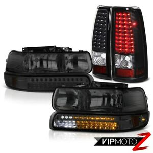 2001 2002 Silverado Extended Regular Smoke Led Bumper Headlamp Bright Tail Light