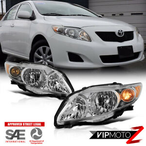 Factory Style For 09 10 Toyota Corolla Chrome Headlights Lamps Chrome Pair L R