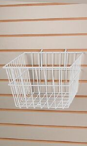 6 Gridwall Wire Baskets White Grid Slatwall Pegboard 12 X 12 X 8 Powder Coat