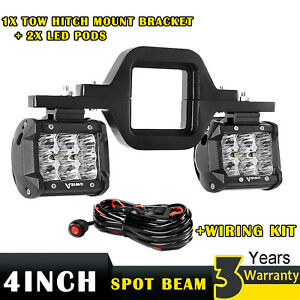 2x 4 Led Lights Tow Hitch Mounting Bracket Wiring Kit For Offroad Truck Suv