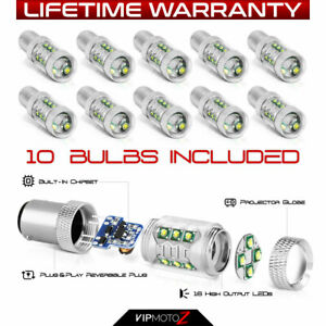 1157 7528 1142 10 Pack Pure White Cree Led Parking Turn Signal Drl Light Bulbs