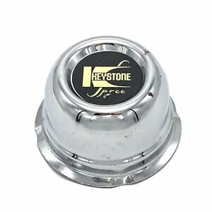 Keystone Spree Chrome 3 Push Thru Center Hub Cap Black Gold Logo