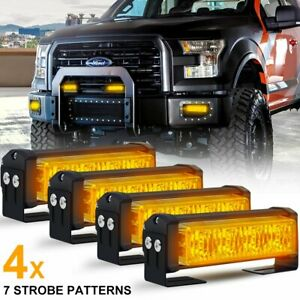 4pcs 20w Amber Led Emergency Warning Strobe Lights Bars For Deck Dash Grill