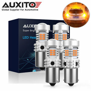 4x Auxito Ba15s 1156 7506 Yellow 26smd Led Turn Signal Light Bulb Error Free