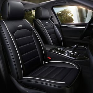 Full Set Leather Car Seat Cover Adjustable Fit Breathable 5 Seats Cushion Cover