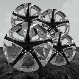 15 Chrome black Hubcap Kit Abs civic Style 4 Pack
