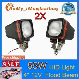 2x 4inch 55w Flood Work Light Hid Xenon 6000k Vehicle Ute Roof Tractor Bumper