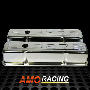 Chrome Steel Baffled Tall Valve Covers Stamped 327 Fit 58 86 Sbc Chevy 283 350