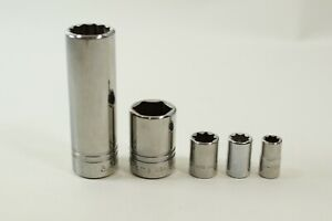 Lot Of 5 Misc Williams Usa Chrome Sockets Nos 1 2 And 1 4 Drive See Desc