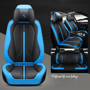 Car Seat Cover Set Cushion Protector Front Back 5 Seat Sedan Black blue Piping
