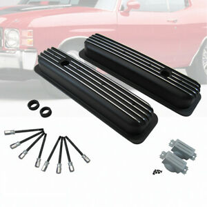 Black Short Finned Center Bolt Valve Covers Tbi Fits Small Block Chevy 350 450