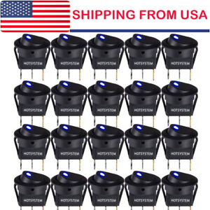 20 Rocker Switch Toggle 12v Blue Led Light Car Auto Boat Round On off Spst 20a