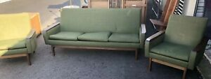 Vintage Mid Century Modern Pearsall Style Sofa Couch W 2 Chairs Green