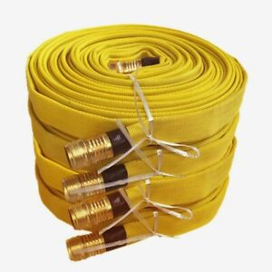 Pack Of 4 Fire Hose 3 4in x 25 Ft Yellow 250 Psi