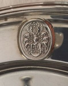 1 Sterling Silver Hawksworth Eyre London Georgian Charger Plate Crest Heraldry