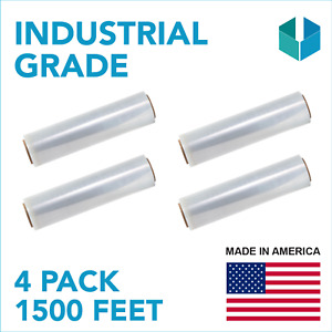 Strong Thick Pallet Stretch Shrink Wrap 18 X 1500 Ft X 80 Gauge Clea 4 Pack