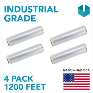 Heavy Duty Stretch Wrap Roll 80 Gauge Plastic Film Packing Material 18 x 1200 Ft