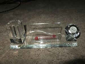Clear Glass Business Card Holder With Clock Pen Holder