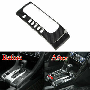 Carbon Fiber Style Abs Gear Shift Box Panel Cover Trim For Honda Civic 2016 2019