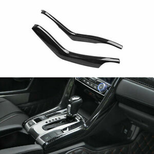 Carbon Fiber Style Gear Shift Panel Stripe Cover Trim For Honda Civic 2016 2018