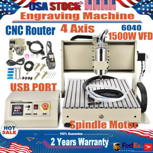 Usb 4 Axis 1 5kw 6040 Cnc Router Engraver Drill Mill Woodwork Vfd Machine Diy 3d