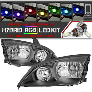 bluetooth Rgb Led Bulbs 05 07 Ford Focus Black Replacement Headlight Assembly
