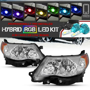 09 13 Subaru Forester Chrome factory Style Headlight built in Rgb Led Bulb