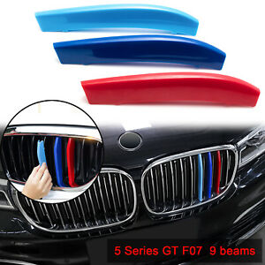 For Bmw 5 Series Gt F07 2009 2017 M color Stripe Kidney Front Grill Insert Trims