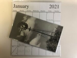 1 2020 2021 Black And White Windmill 2 Year Pocket Calendar Planner