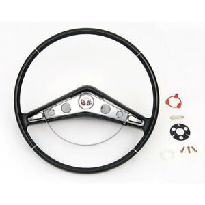 1959 1960 Chevy Impala Complete Steering Wheel Assembly Black With Horn Ring