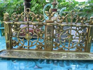 Antique Victorian Solid Brass Hanging Smoking Pipe Stand