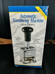 Automatic Numbering Stamp Machine Self Inking W Ink Stylus 7 Actions Used 1x