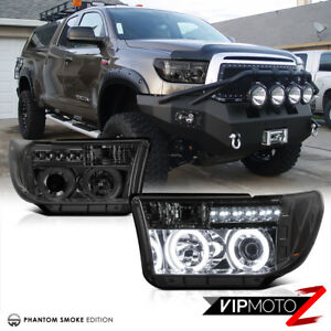 Lh rh Ccfl Dual Halo Ring Led Smoke Projector Headlight For 07 13 Toyota Tundra