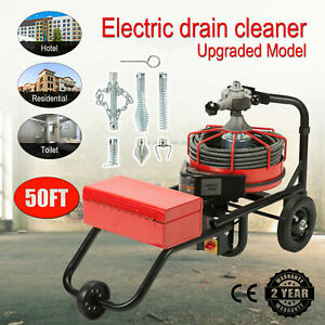 50ft 1 2 Drain Auger Pipe Cleaner Cleaning Machine Plumber Flexible Snake Pipe