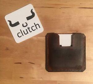 Square Leather Business Card Holder Dark Brown Or Black Hand Crafted
