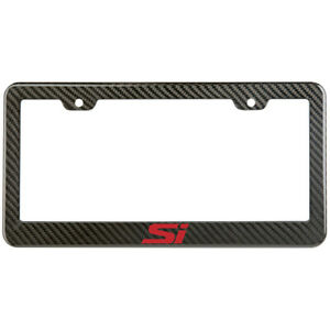 Honda Civic Si License Plate Frame Carbon Fiber Look Style Glossy Plastic