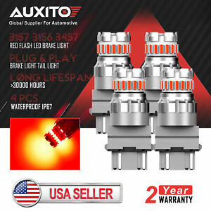 4x Auxito 3157 3156 Red Strobe Flashing Led Brake Tail Stop Light Bulb No Error