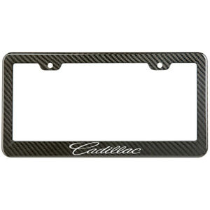 Cadillac License Plate Frame Carbon Fiber Look Style Glossy Plastic