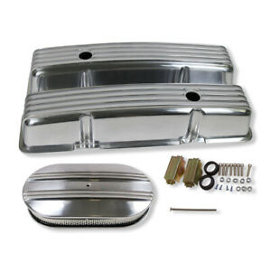 For Sbc 350 400 Finned Aluminum Top End Valve Covers Air Cleaner Dress Up Kit