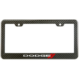 Dodge License Plate Frame Carbon Fiber Look Style Glossy Plastic